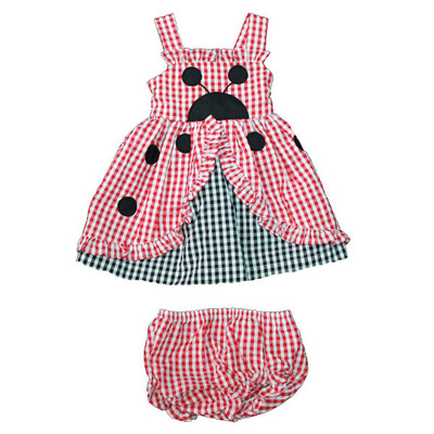 Baby / Infant Red & Black Checkered Sun Dress with Matching Bloomers