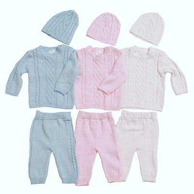 Baby 3 Piece Cable Knit Sweater, Pants & Hat Set