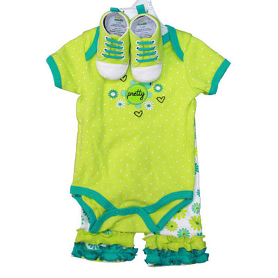 Baby 3 Piece Sneaker Set - Green