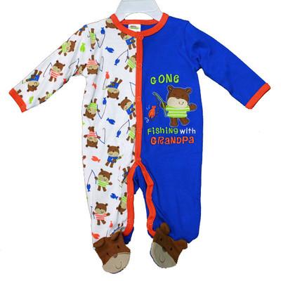 Baby Interlock Cotton Sleeper - Blue
