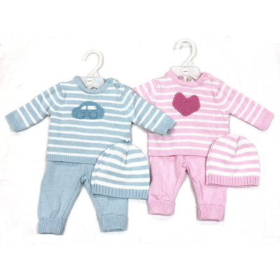 Baby 3 Piece Cable Knit Sweater with Car/Heart Detail, Pants & Hat Set