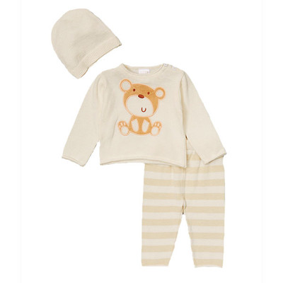Baby 3 Piece Sweater with Bear Detail, Pants and Matching Hat Set