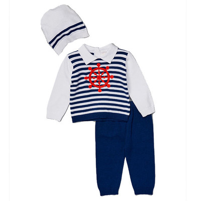 Baby 3 Piece Sailor Theme Sweater, Pants and Matching Hat Set