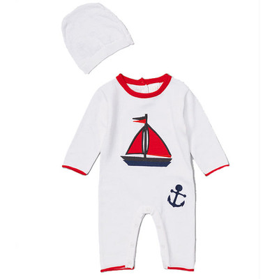 Baby Knit Romper with Sailboat Detail and Matching Hat