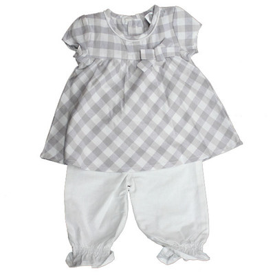 Girl's Check Capri Set - Grey