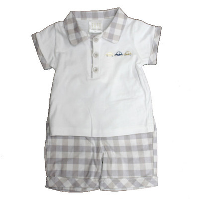 Boy's Check Short Set - Grey