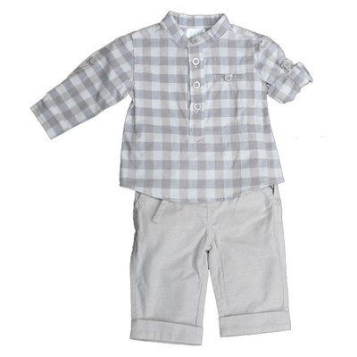 Boy's 2 Piece Check Dungaree Set - Grey