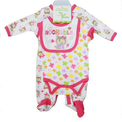 Baby 3 Piece Coverall Set - Pink