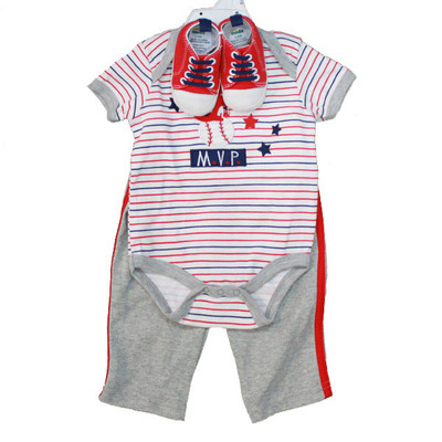 Baby 3 Piece Sneaker Set - Grey