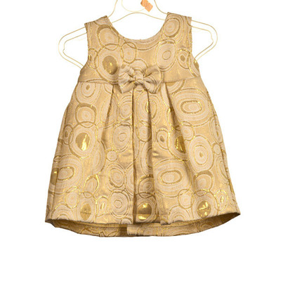 Baby Sleeveless Dress Brocade with Bow Applique - Beige