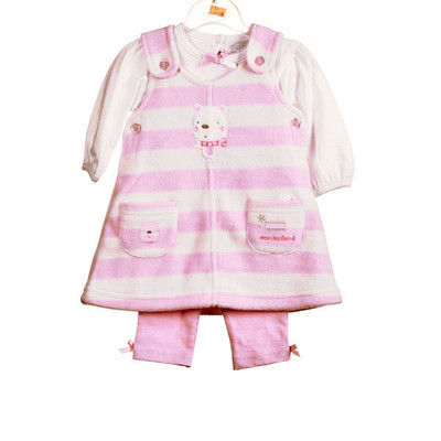 Baby 3 Pc. Microfleece Dress Set - Pink