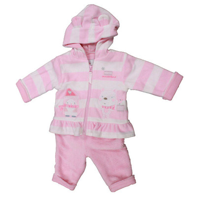 Baby 2 Pc. Hooded Micro Fleece Set - Pink