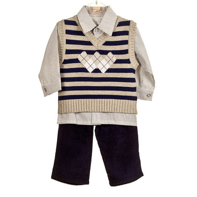 Baby Boy's 3 Pc. Cord Pant Set - Blue