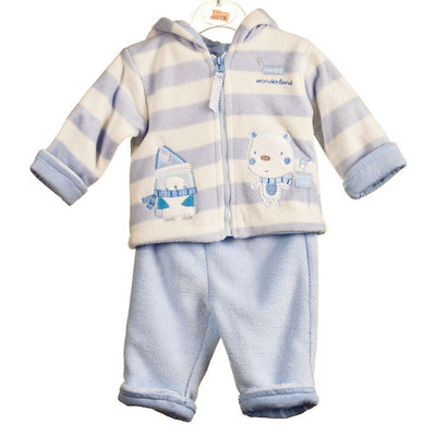 Baby 2 Pc. Hooded Micro Fleece Set - Blue