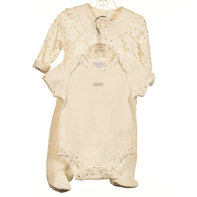 Baby 3 Pc. Set Cotton and Velour - Ivory