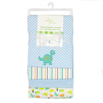 Baby 4 Pack Flannel Receiving Blankets