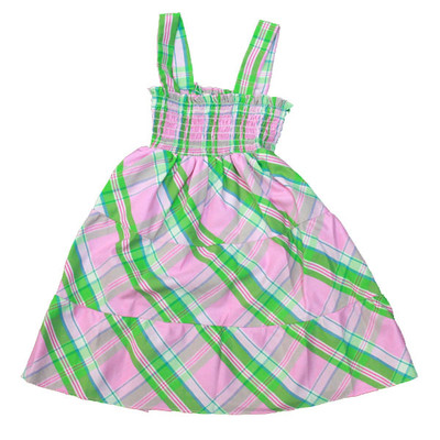Girl's Pink & Green Plaid Sun Dress