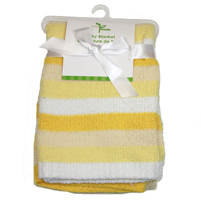 Baby Yellow and White Striped Chenille Blanket - One Size