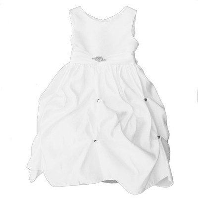 Girl's White Sleeveless Fancy Dress with Loose Ruffled Bottom