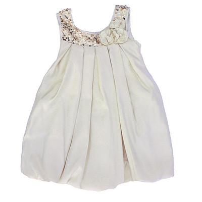 Girl's Fancy Ivory Sleeveless A-Line Dress with Gold Sequenced Neckline