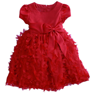 Girl's Red Cap Sleeved Dress with Flower Ruffles
