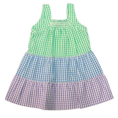 Girl's Green / Blue / Purple Checkered Sun Dress
