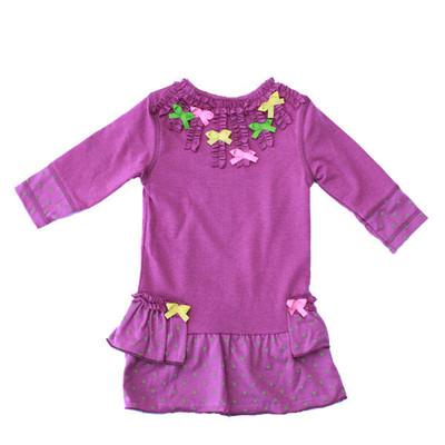 Ruffles and Bow Dress - Purple