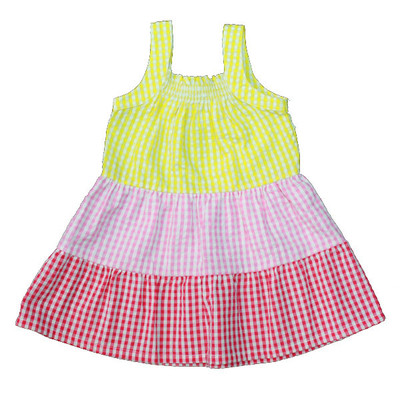 Girl's Yellow / Pink / Red Checkered Sun Dress