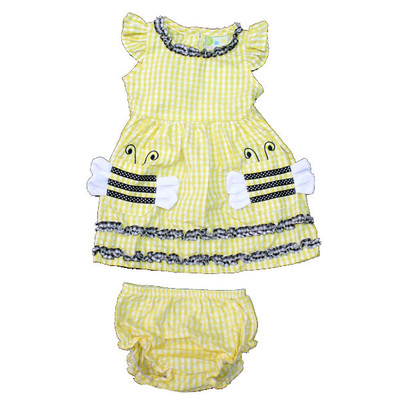 Baby / Infant Yellow Checkered Short Sleeve Dress with Matching Bloomers