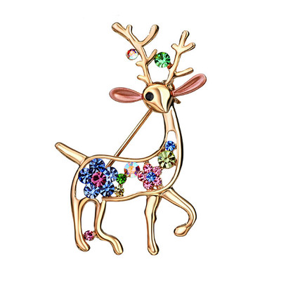 14K Gold Plated Multicolour Reindeer Brooch
