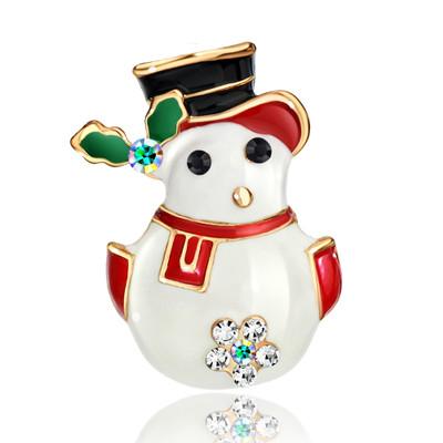 14K Gold Plated Snowman Brooch