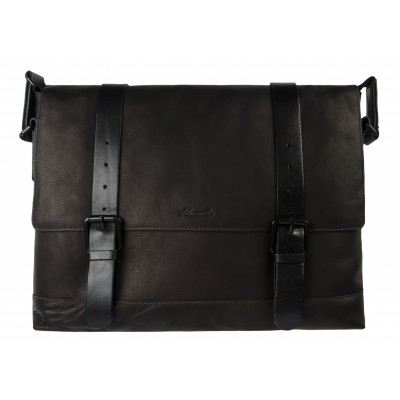 Kenneth Cole New York Single Gusset Flapover Messenger Bag in Brown