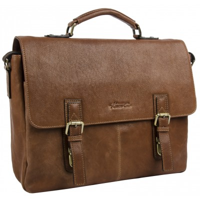 Kenneth Cole New York Double Gusset Flapover Computer Messenger in Cognac