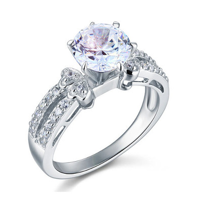 925 Sterling Silver 2 Carat Created Diamond 6 Prong Ring (2 Cttw, G-H Color, I2-I3 Clarity)