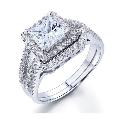 925 Sterling Silver 1.5 Carat Princess Cut Created Diamond Wedding Bands (1.5 Cttw, G-H Color, I2-I3 Clarity)