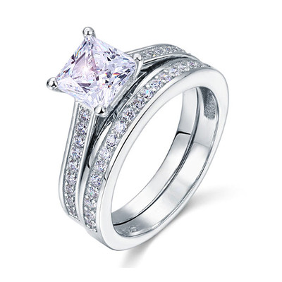 925 Sterling Silver 1.5 Carat Princess Cut Created Diamond Ring Set (1.5 Cttw, G-H Color, I2-I3 Clarity)