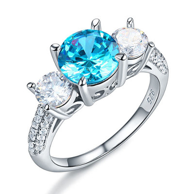 925 Sterling Silver 2 Carat 3 Stone Created Blue Diamond Ring (2 Cttw, G-H Color, I2-I3 Clarity)
