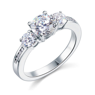 925 Sterling Silver 1.5 Carat 3 Stone Created Diamond Ring (1.25 Cttw, G-H Color, I2-I3 Clarity)