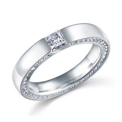 925 Sterling Silver Princess Cut Created Diamond Ring (0.25 Cttw, G-H Color, I2-I3 Clarity)