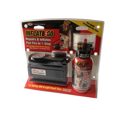 Inflate N Go - Flat Tire Emergency Repair Kit with 12V (250Psi) Air Compressor and Tire Sealant.