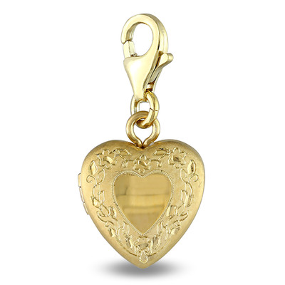 Vintage Love Charm Locket in Yellow Plated Satin Sterling Silver