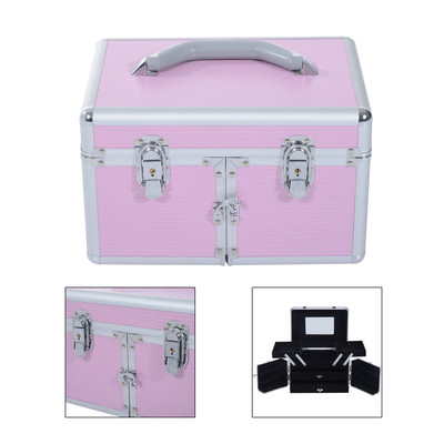 Pro Aluminum Makeup Train Case Cosmetic Organizer Box With Mirror and Lock Pink