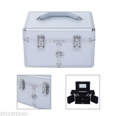 Pro Aluminum Makeup Train Case Cosmetic Organizer Box With Mirror and Lock Silver