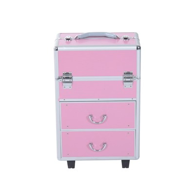 Rolling Makeup Case Cosmetic Jewelry Organizer Box Extendable With Drawers and Locks Pink