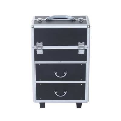 Rolling Makeup Case Cosmetic Jewelry Organizer Box Extendable With Drawers and Locks Black