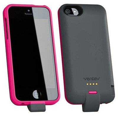 Ventev PowerCase 2000 Power Bank with protective case for iPhone 5/5s - Pink (729198107666)