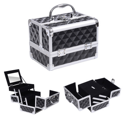 3 Tier Aluminum Diamond Textured  Makeup Train Case Cosmetic Storage Organizer Black