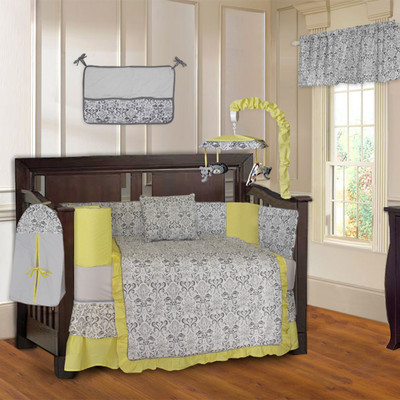 Yellow Damask 10 Piece Neutral themed Baby Crib Bedding Set (Including Musical Mobile)