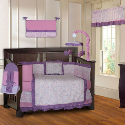 Pink and Purple Damask 10 Piece Girls Baby Crib Bedding Set (Including Musical Mobile)