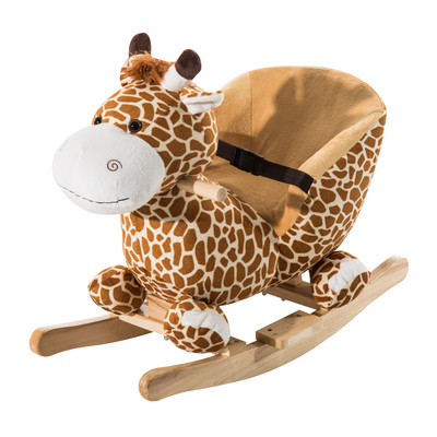 Kids Classic Plush Rocking Horse Giraffe Theme Chair
